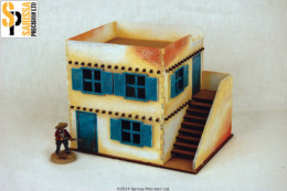 Old West Cowboy Building TWO FLOOR ADOBE HOUSE with Stairs  25mm, 28mm Terrain, A007