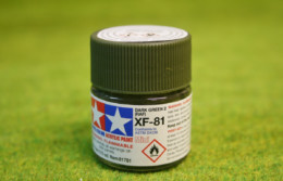 Tamiya Color DARK GREEN 2 (RAF) Acrylic Mini Paint XF81 10mls