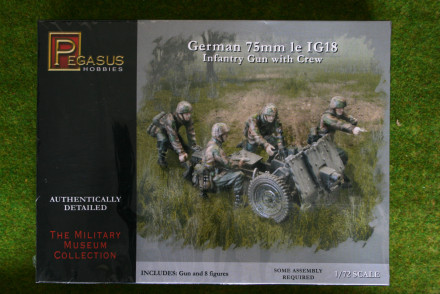 Pegasus 1/72 German 75mm le IG18 Infantry Gun w. crew PG7510