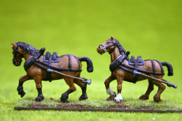 Trent Miniatures Wagon or CART HORSES – TEAM OF TWO 28mm Wargames
