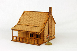 North American  HOUSE with PORCH & STONE CHIMNEY #1 28mm M002 Sarissa