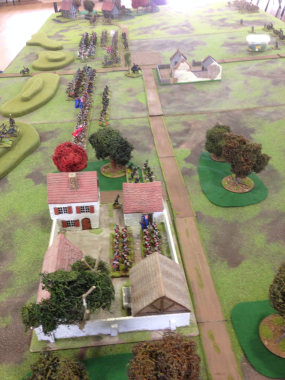 The Allies deployment -Hougoumont in the foreground.