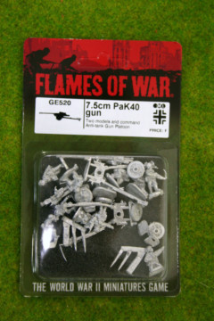 Flames of War GERMAN 7.5 PAK 40 Gun & Crew x 2 15mm GE520