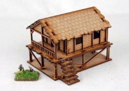 Far East or Jungle WOVEN PALM STYLE VILLAGE HOUSE 15mm MDF Sarissa Precision K501