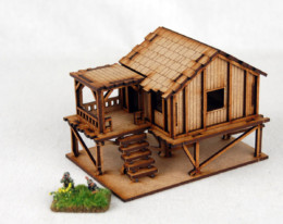 Far East or Jungle PLANKED STYLE VILLAGE HOUSE 15mm MDF Sarissa Precision K502