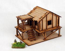 Far East or Jungle PLANKED STYLE VILLAGE HOUSE 15mm Laser cut MDF K502