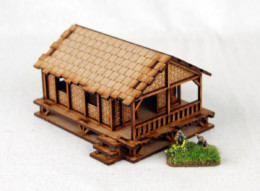 Far East or Jungle WOVEN PALM STYLE VILLAGE HOUSE LOW 15mm MDF Sarissa Precision K504