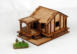 Far East or Jungle PLANKED STYLE VILLAGE HOUSE LOW 15mm MDF Sarissa Precision K505