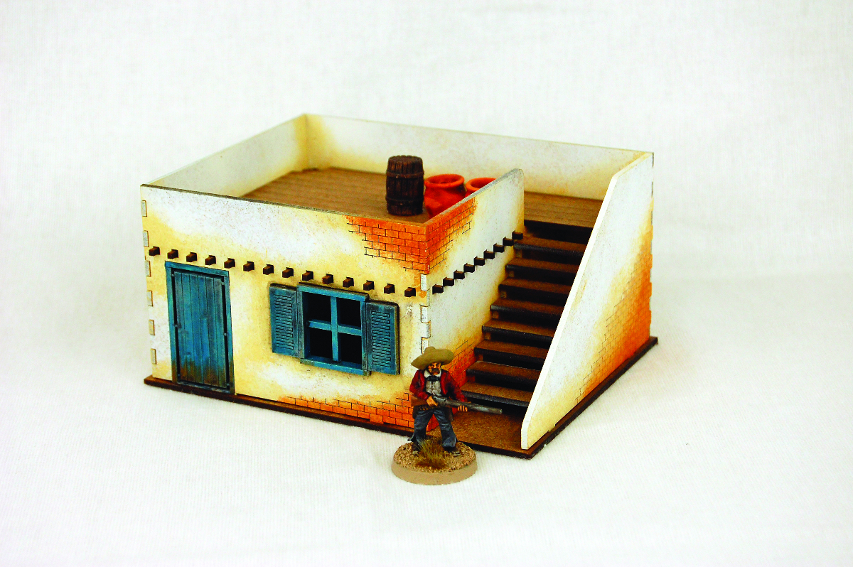 Old West Cowboy Building Adobe House With Stairs 25mm