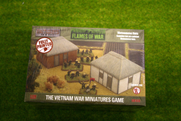 Flames of War VIETNAMESE VILLAGE HUTS painted tabletop terrain 15mm BB169