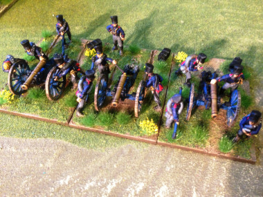 Prussian artillery from above showing basing.