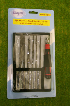 Expo Tools 6 piece Superior Steel NEEDLE FILE set with handle 72504