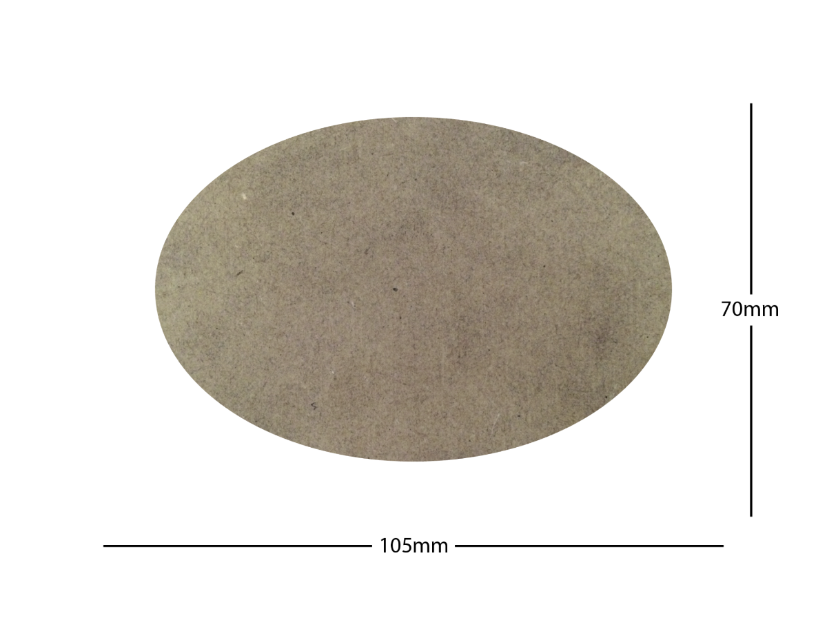 105x70mm Oval LASER CUT MDF 2mm Wooden Bases for Wargames