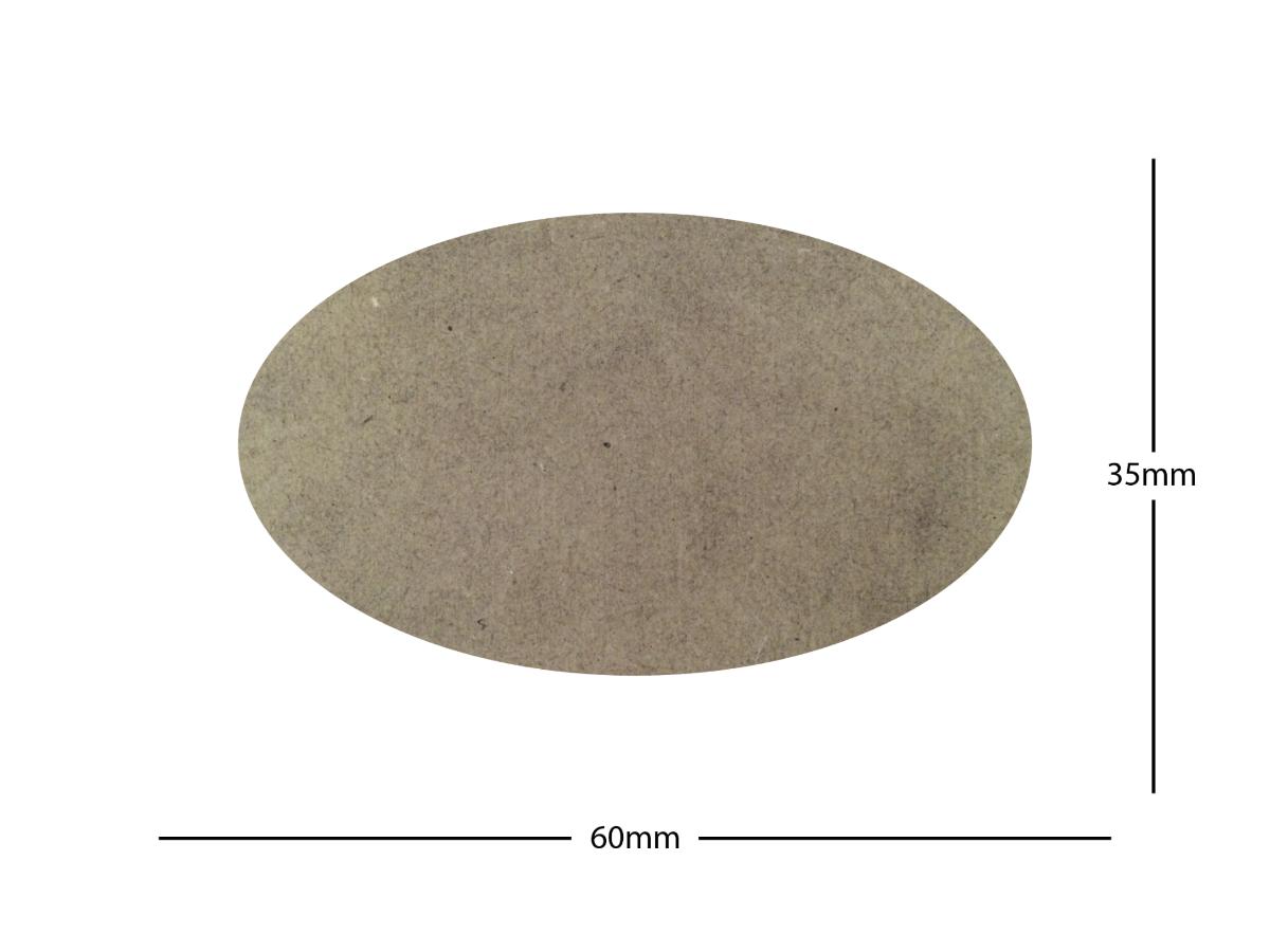60x35mm Oval LASER CUT MDF 2mm Wooden Bases for Wargames