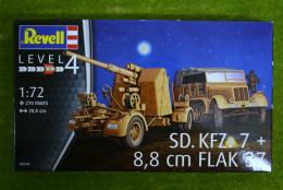 SD. KFZ. 7 & 8.8cm FLAK 37 German WW2 1/72 Revell Kit 3210