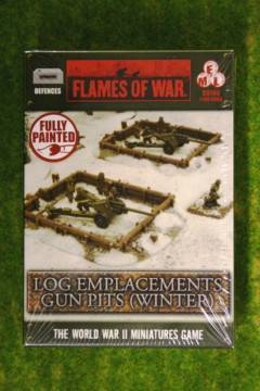 Flames of War Gun Pits Log Emplacements Winter painted tabletop terrain BB149 15mm