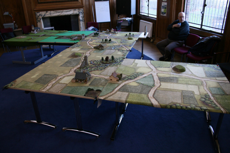 The Zig Zag Table set up. Pete takes a break before deciding whether to place more cover on the tables!