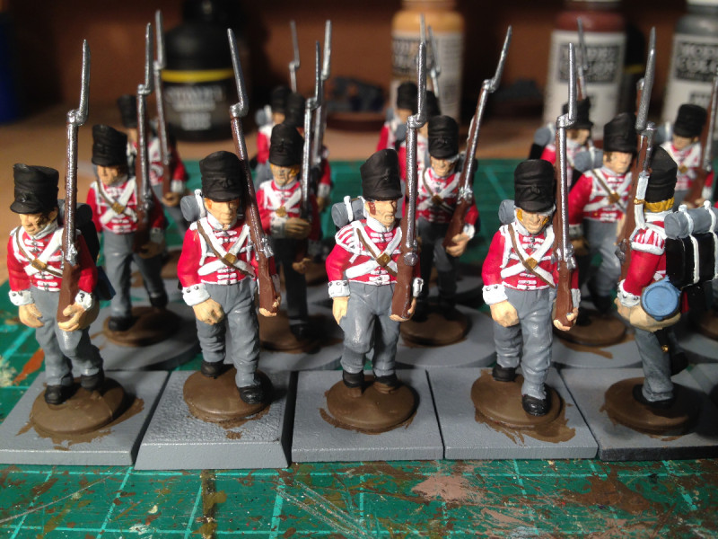 back packs on & bases painted.