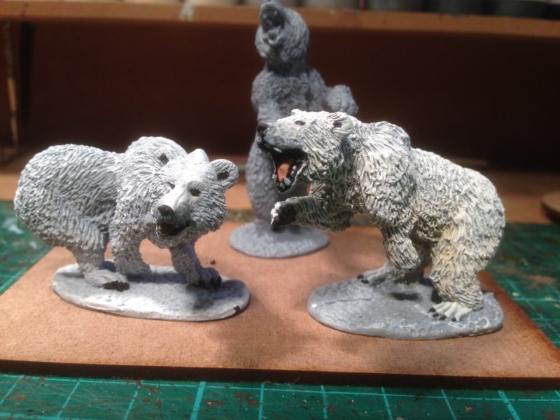 The first two cave bears painted as snow bears.