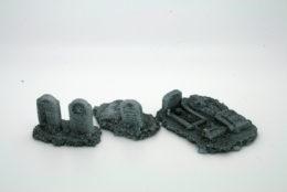 BZB4 JAVIS Battle Zone Church Grave Stones resin scenery