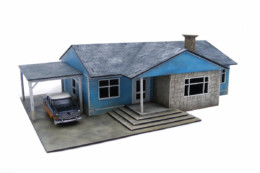 Retro Americana Residential Ranch Style House – Car Port LHS 28mm Laser Cut MDF Building P010