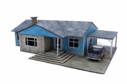 Retro Americana Residential Ranch Style House – Car Port RHS 28mm Laser Cut MDF Building P012