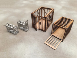 Colonial Hunters Animal Cages 28mm MDF Buildings Sarissa Precision G089