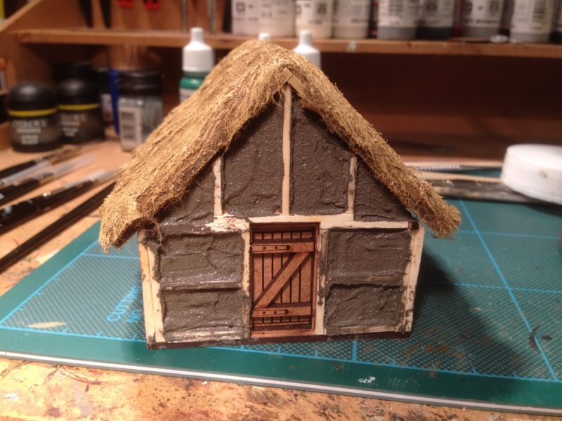 Dark Age house viewed from the end - note door is left unpainted at this stage.