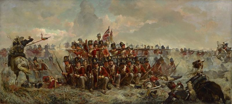 Lady Butlers painting of the 28th at Quatre Bras.
