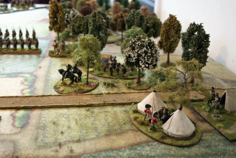 The British encampment at the edge of the Bossu wood