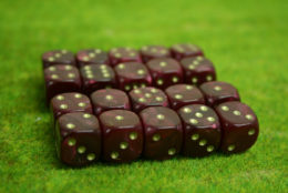 20 x 12mm DICE RED PEARL 6 gold spot Wargames dice