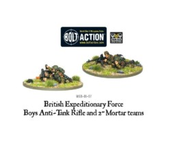 BEF 2″ Mortar & Anti-Tank Weapons Teams Bolt Action Warlord Games 28mm