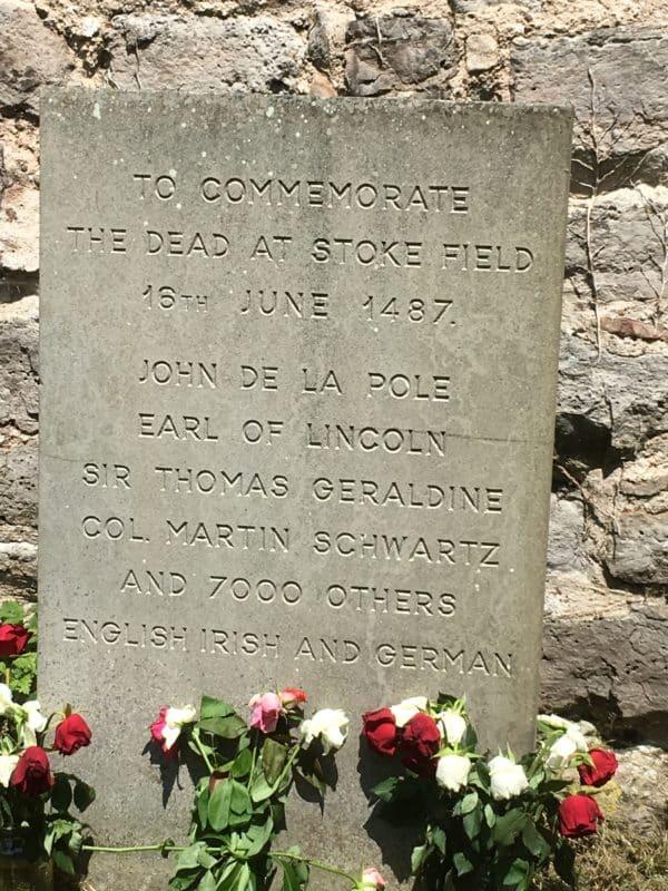 Memorial stone at East stoke Church