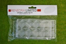 WARGAMING WAR GAMES RENEDRA TRANSPARENT 25mm ROUND BASES Pack