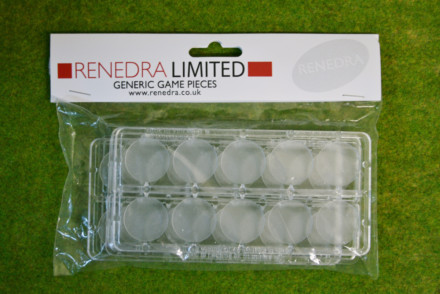 WARGAMING WAR GAMES RENEDRA TRANSPARENT 25mm ROUND BASES Pack