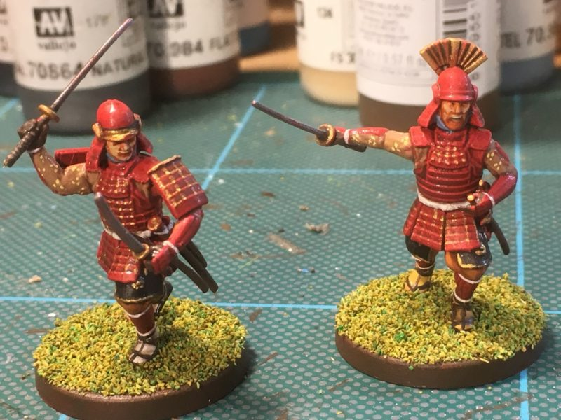 Red Samurai gold dots on the armour and quick shaded.