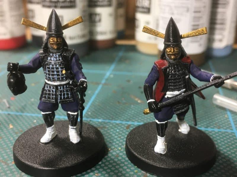 Black Samuraio dry brushed & light blue stitching added.