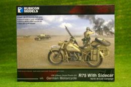 Rubicon Models NORTH AFRICAN German Motorcycle R75 with Sidecar (DAK) RU-280052