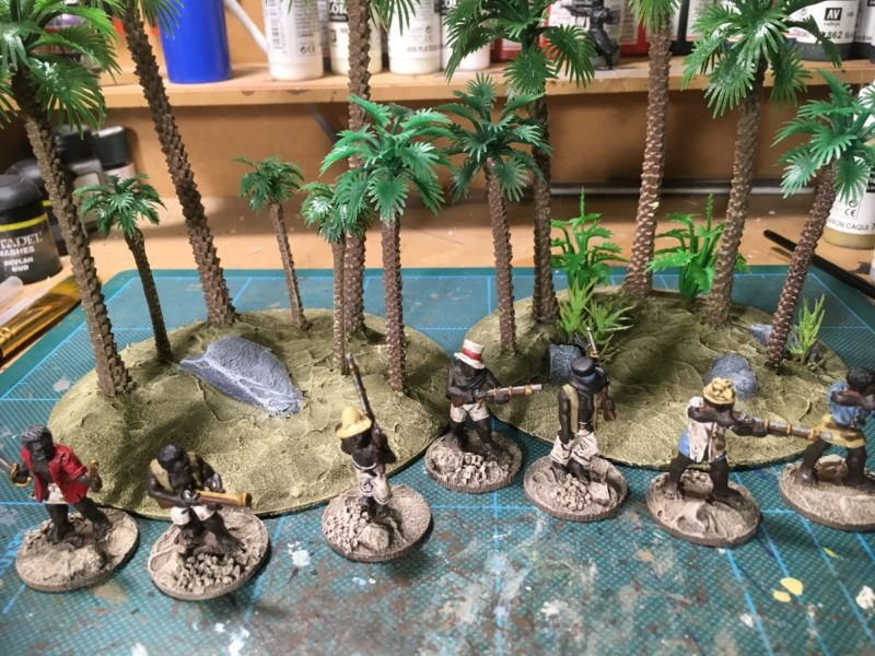 Bases dry brushed.