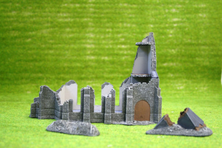 Flames of War RUINED CHURCH (LILLE) painted tabletop terrain 15mm BB177