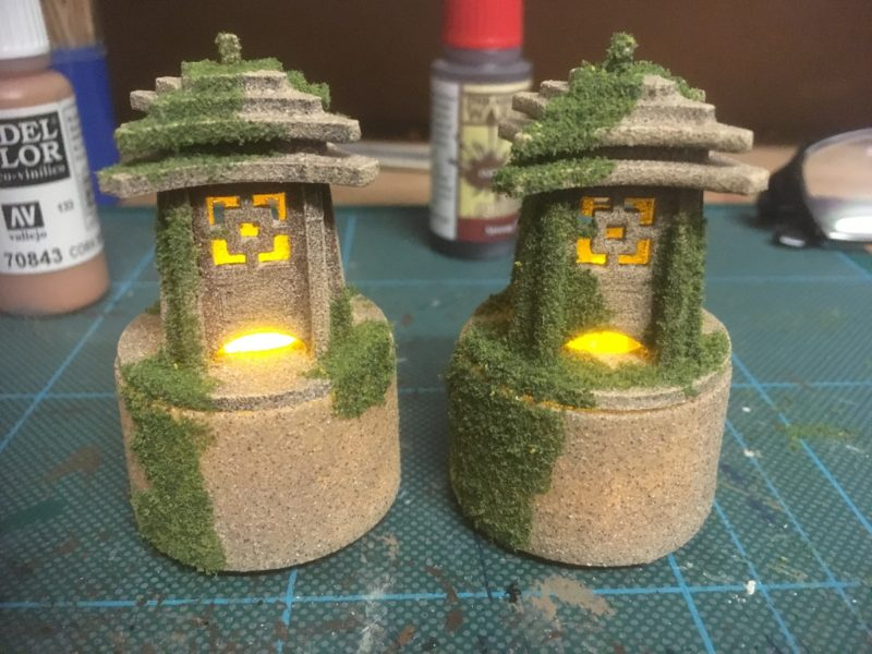 Lanterns with moss added!