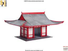 Japan TEMPLE SHRINE 2 SAMURAI/ JAPANESE 28mm Laser cut MDF scale Building B034