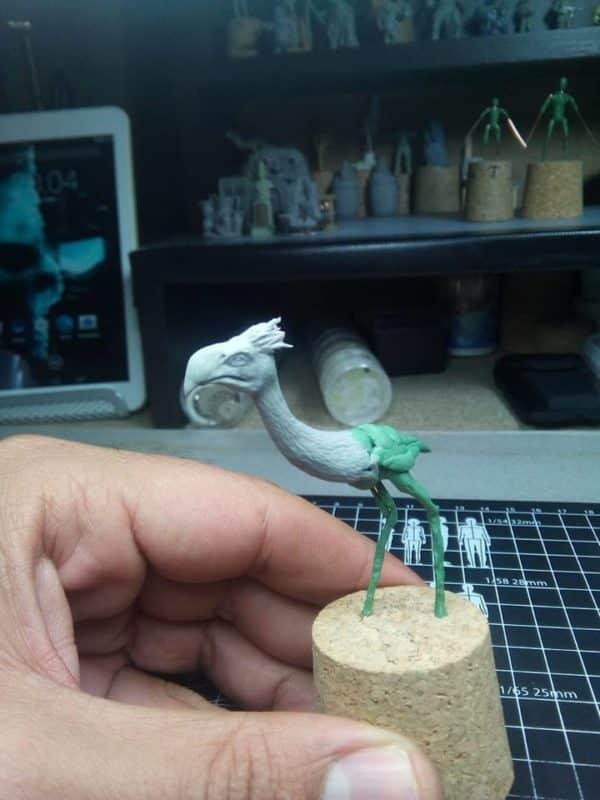 DeeZe Terror Bird being sculpted
