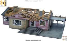 Residential Ranch Style Derelict – Car Port RHS Retro Americana Laser Cut MDF Building P020