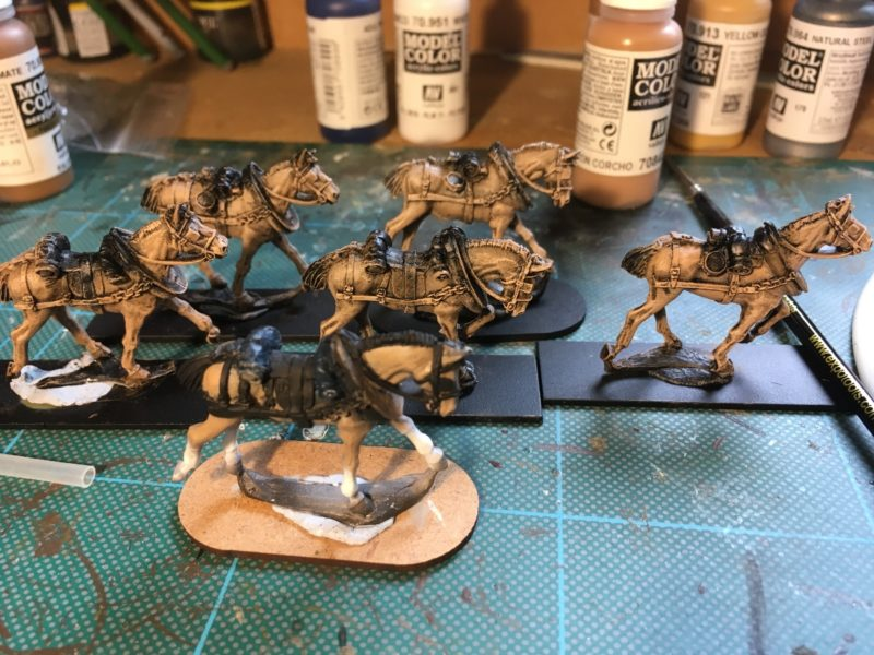 Work in progress - horses for the limbers.
