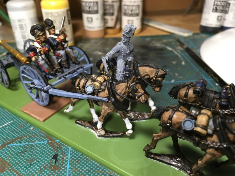 Horse artillery limber - Lighter brown horses after Army painter quick shade applied.