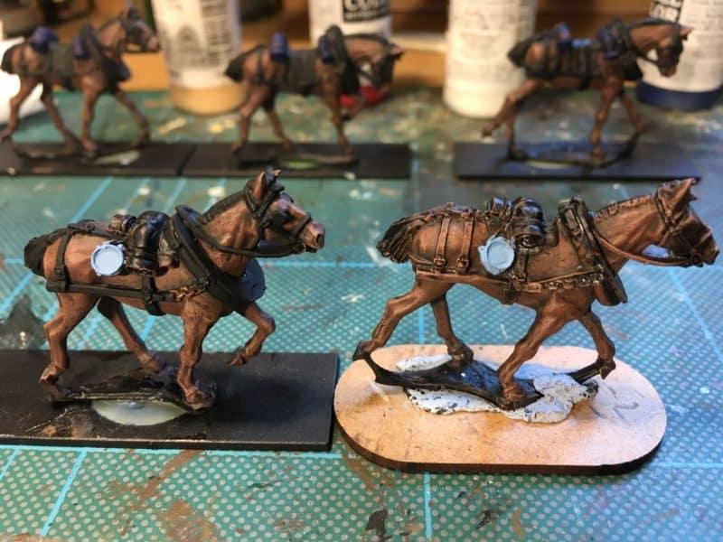 Limber horses - work in progress.