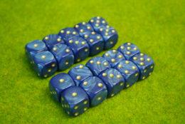 20 x 16mm DICE BLUE PEARL 6 GOLD spot wargames dice