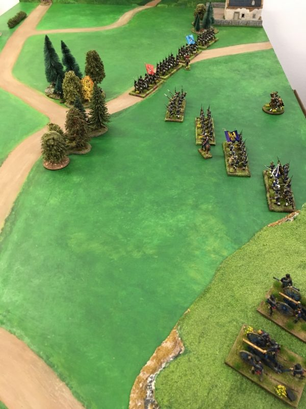 The Prussian deployment, the two Lancer regiments are to the far left of the artillery.