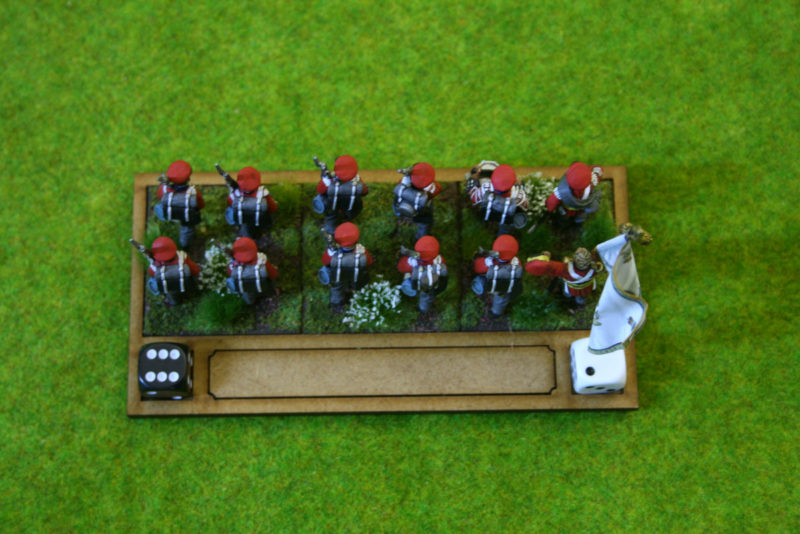 Tray showing dice used for markers